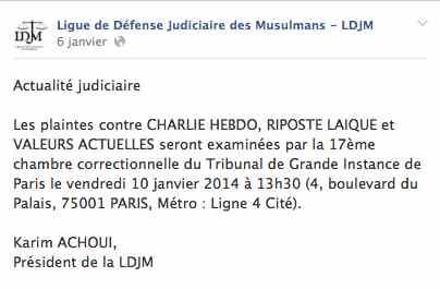 Urgent les plaintes de la ldjm contre charlie hebdo for Chambre correctionnelle paris