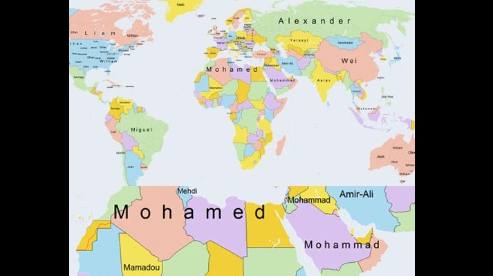 Mohamed une carte qui d voile le pr nom le plus populaire dans le monde arabe islam info - Prenom le plus porte au monde ...