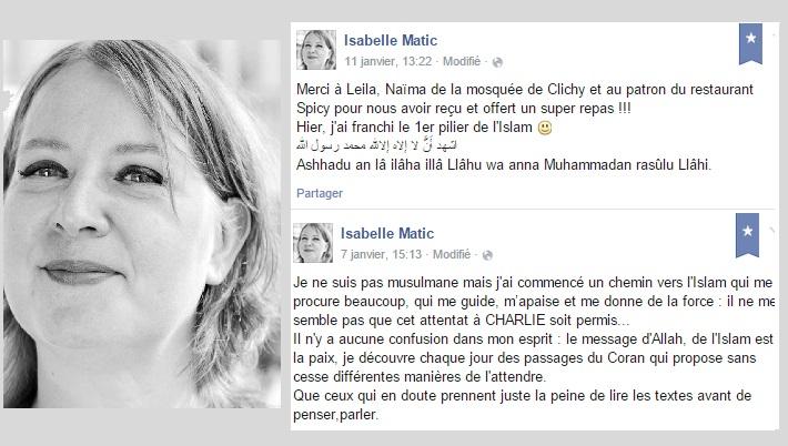 Après la tuerie de Charlie Hebdo, Isabelle Matic se convertit à l'Islam.