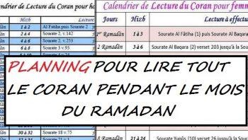 planning coran ramadan