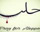 Alep : Les internautes partagent ce dessin avec le mot «Alep» écrit en arabe, taché de gouttes de sang.