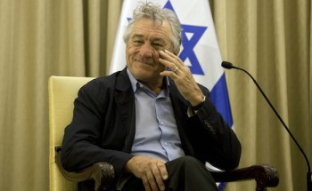 Actor De Niro waits for his meeting with Israel's President Peres in Jerusalem