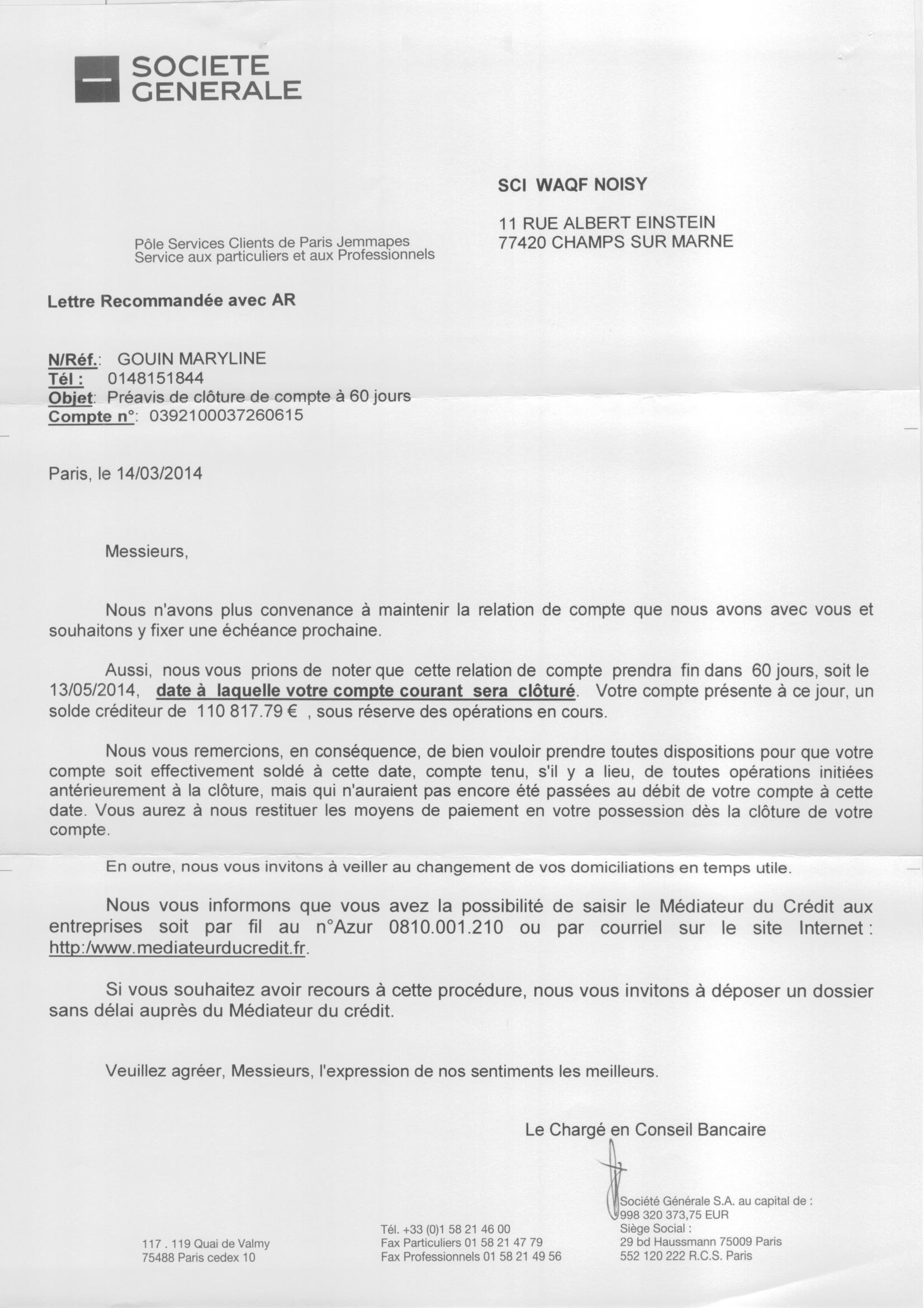 Document La Societe Generale Cloture Le Compte Bancaire De La
