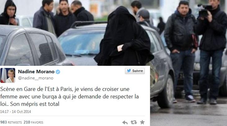 Nadine Morano interpelle une femme en niqab e...