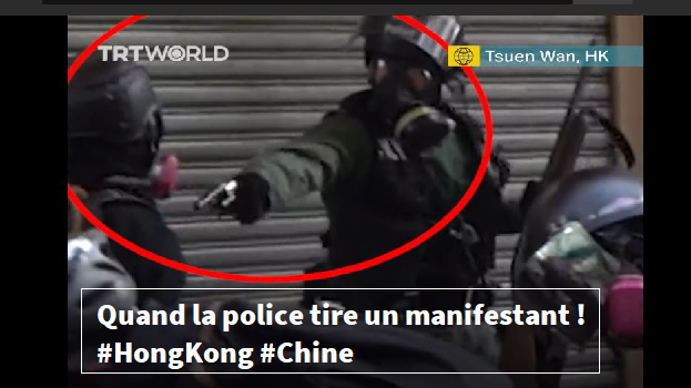 Hong Kong , la police tire sur un manifestant contre la Chine ! | VIDÉO
