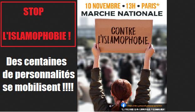 MARCHE DU 10 NOVEMBRE A PARIS : STOP A L'ISLAMOPHOBIE !