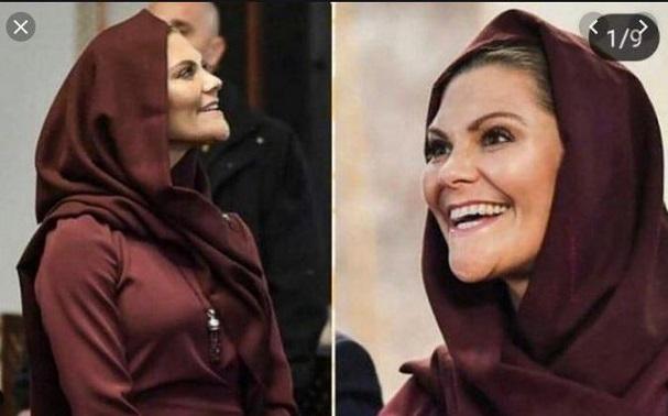 La princesse Victoria de Suède met le voile dans une Mosquée